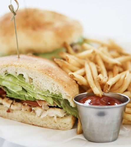 Chicken Club Sandwich with French Fries