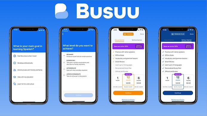 Busuu Onboarding Screens