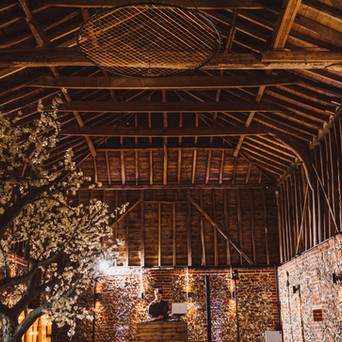 Rustic Wedding DJ in the Wedding Barn at Old Hall