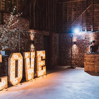 Rustic LOVE Letters & Rustic DJ Booth in Rustic Wedding Barn