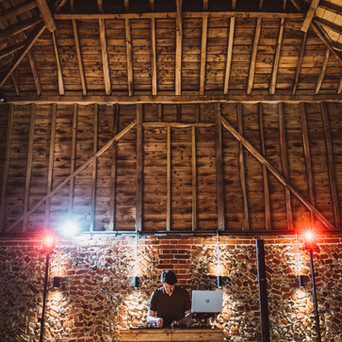 Rustic DJ Booth in the Wedding Barn at Old Hall