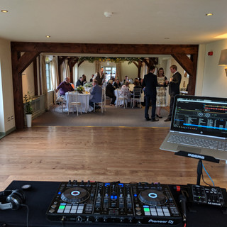 Wedding DJ view at the Compasses at Pattiswick.