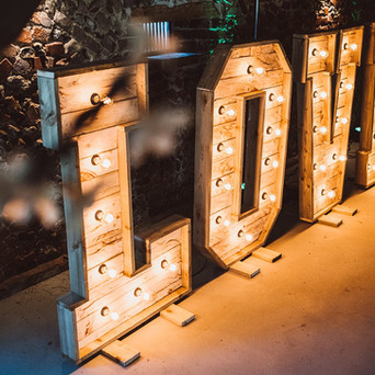 Rustic LOVE Letters in the Wedding Barn at Old Hall