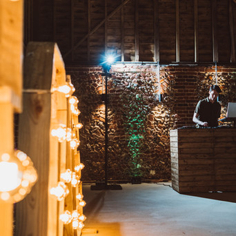 LOVE Letters and Rustic DJ Booth in the Wedding Barn at Old Hall