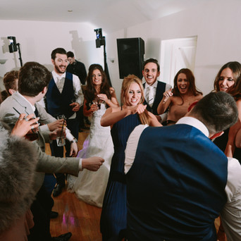 Wedding guests dancing at Little Channels