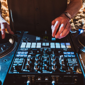 Turntables and mixer at a Rustic Wedding Venue