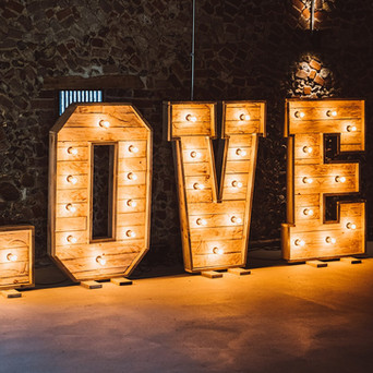Rustic LOVE Letters in Rustic Wedding Barn