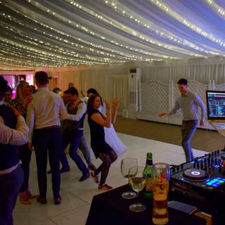 Our wedding DJ, George, at Parklands Quendon Hall