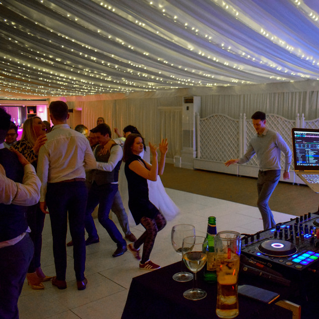 Our wedding DJ, George, at Parklands Quendon Hall