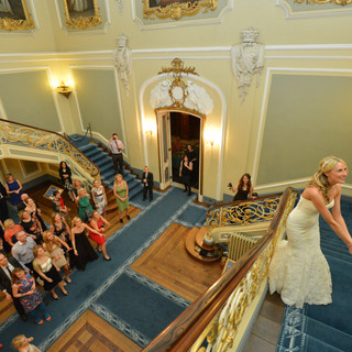 Claire Male, throwing the bouquet at Wrest Park, Hertfordshire