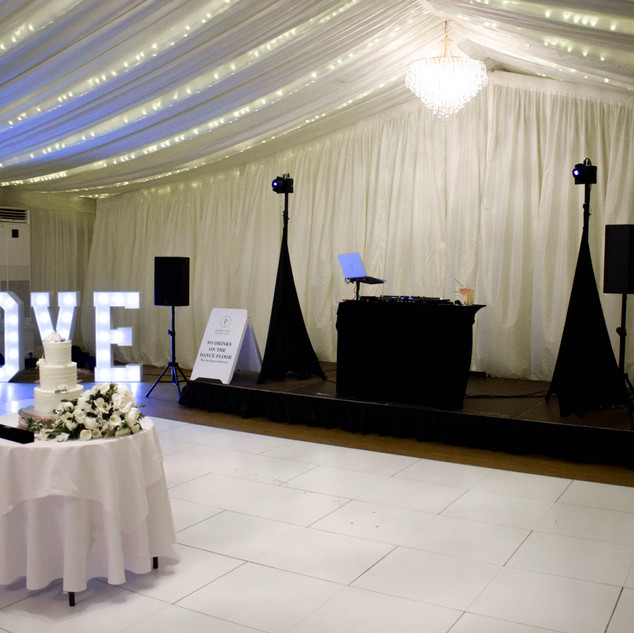 Our wedding DJ & LOVE Letters at Parklands Quendon Hall