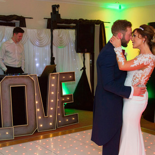 Gemma and Stefan Chapman- with Nick, one of our wedding DJs, at Black Notley Golf Club.