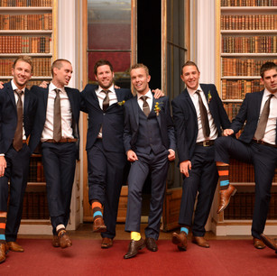 Chris Male and his groomsmen at Wrest Park, Hertfordshire.