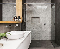 Marble mosaic herringbone tiled shower f