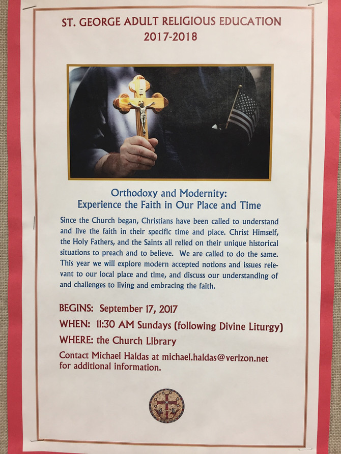 Live Adult Religious Education for 2017-2018 Begins Today!