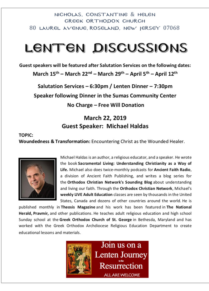 "Lenten Lecture - ""Woundedness and Transformation: Encountering Christ as the Wounded Healer&quo"