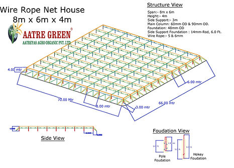 Wire Rope Flat Roof Shade Net House - 1-