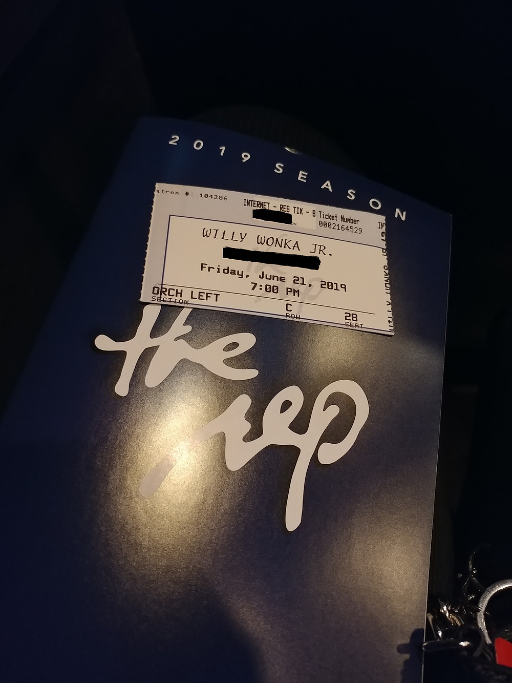 "The playbill from the The Rep's production of ""Willy Wonka Jr."" during the 2019 season."