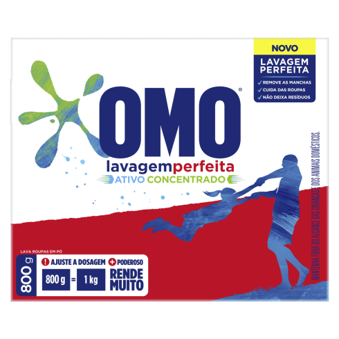 Detergente em Pó OMO 800g Lavagem Perfeita