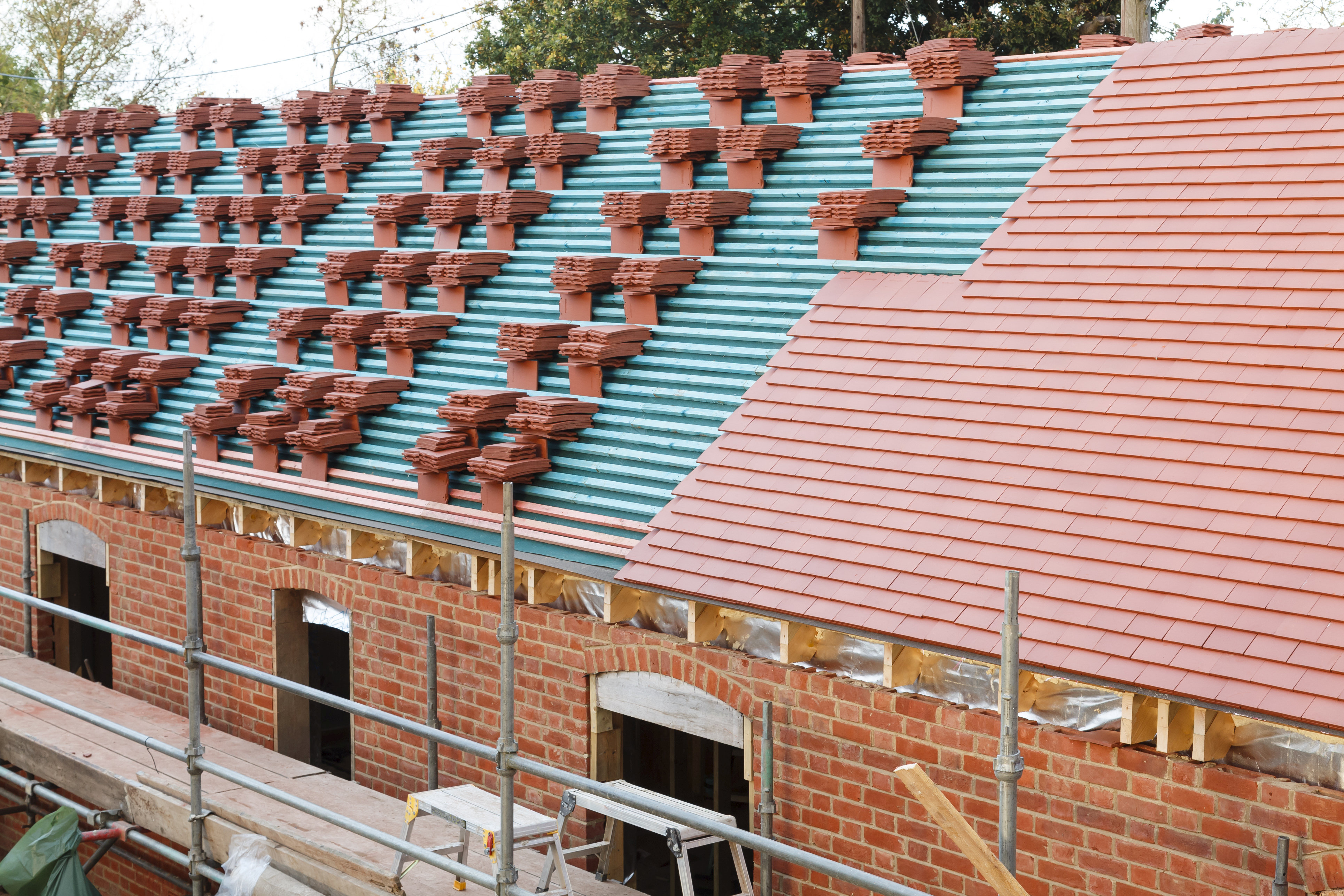 A new roof is installed in the UK with p