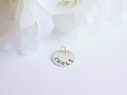 """Sterling Silver Add On, 1/2"""" Hand Stamped/ Engraved Name Charm for Jewelry"""