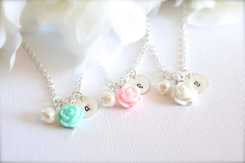 Personalized Hand Stamped, Flower Charm Necklace
