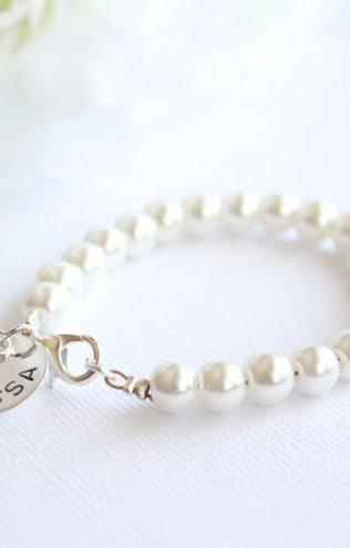 Personalized Sterling Silver Girls Pearl Bracelet