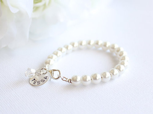 Personalized Sterling Silver Girls Pearl Bracelet
