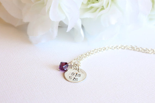Sterling Silver Big Sister Necklace with Swarovski Crystal Birthstone