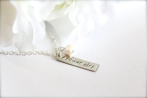 Flower Girl Gift Engraved Tag Charm Necklace