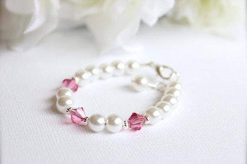 Birthstone and Pearls Bracelet Swarovski Crystal