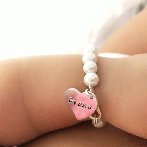 Personalized Heart Charm Pearl Baby Bracelet