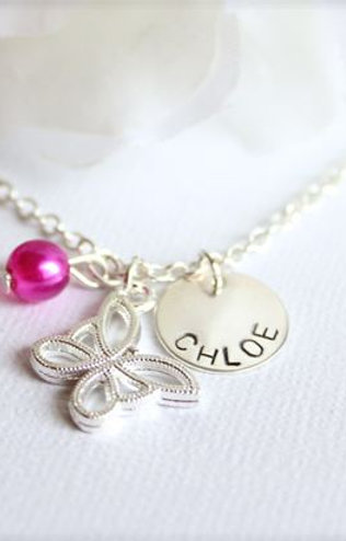 Sterling Silver Name Charm, Butterfly Necklace