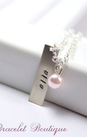 Personalized Gift Hand Stamped Charm Necklace