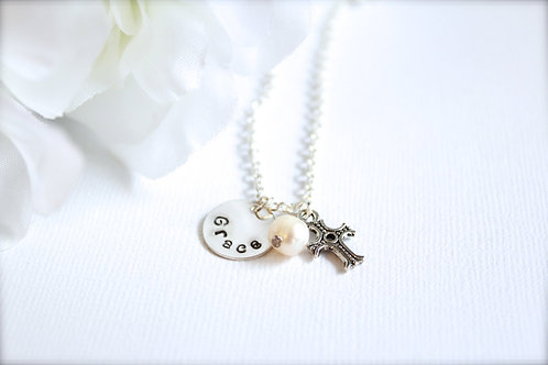 Sterling Silver Name Necklace with Real Pearl and Cross
