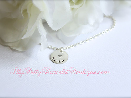 Girls Personalized Necklace, Sterling Silver Stamped Name