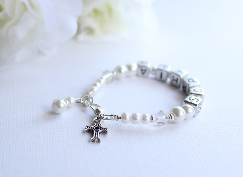 goddaughter confirmation white pin baby first personalized gifts cross girls pearls charm lilly caelyn bracelet communion christening baptism for