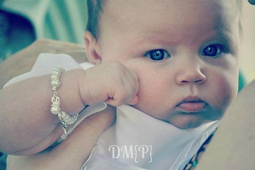 Pearl Baby Bracelet with Silver Cross Baptism Gift, Baby Keepsake