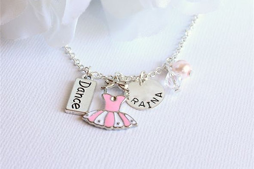 Pink Ballet Tutu Charm Necklace for Girls