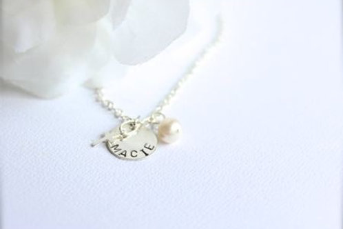 Sterling Silver Cross & Real Pearl Personalized Name Necklace