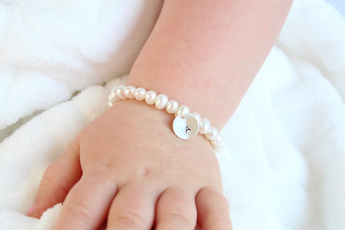 Sterling Silver Initial Personalized Real Pearl Bracelet