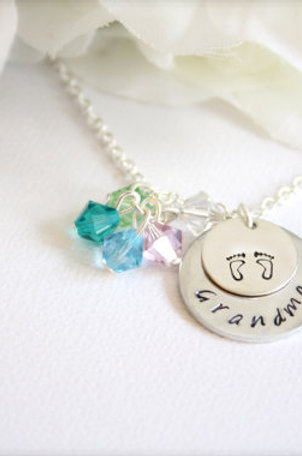 Sterling Silver Grandma Necklace with Birthstones