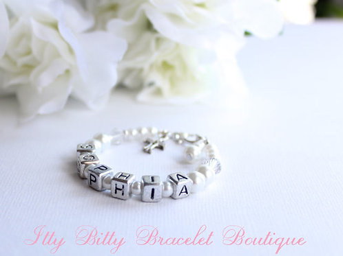 Personalized Baptism Bracelet Letter Blocks and Silver Cross