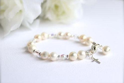Sterling Silver Cross Baptism Gift, Real Freshwater Pearl Bracelet