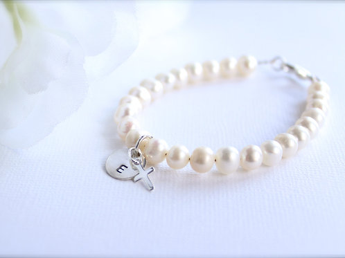 Sterling Silver Cross & Initial Personalized Real Pearl Bracelet