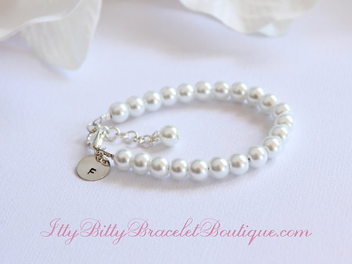 Personalized Initial Pearl Bracelet for Babies and Girls- 1st Pearls