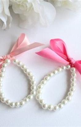 Pearls & Ribbon Bow Bracelet, Birthday, Flower Girl, Little Girls