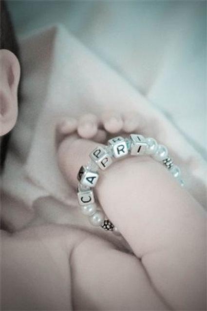 Baby Girl Personalized Bracelet Pearl Bracelet with Letter Blocks