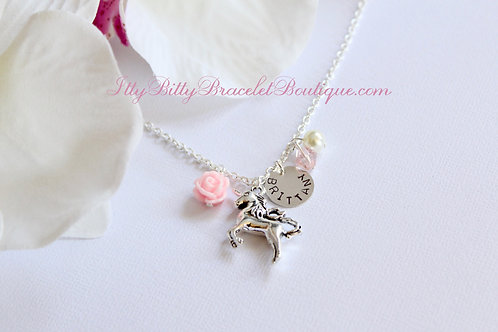 Unicorn Necklace with Sterling Silver Name