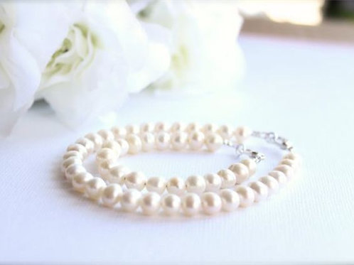 Real Pearls Mommy and Me Bracelet Set, Mother Daughter